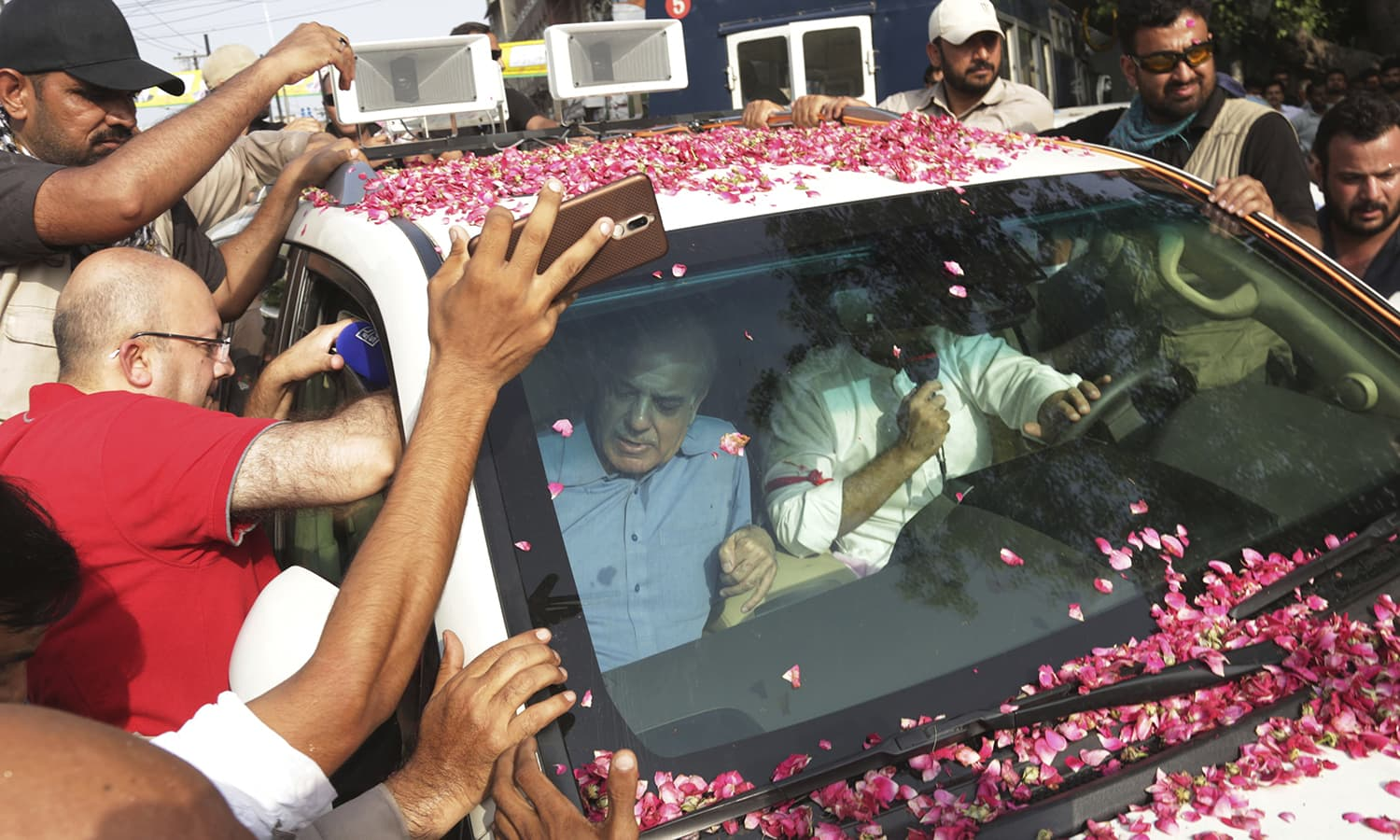 Shahbaz Sharif leading the rally.  —AP
