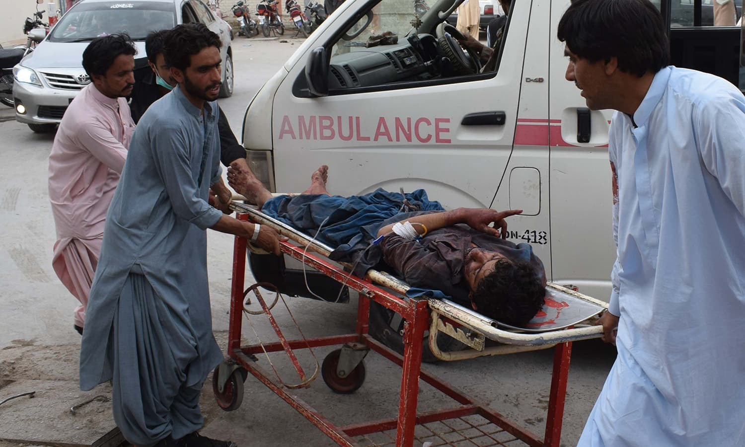 A victim of the blast is brought to a hospital in Quetta. —AFP