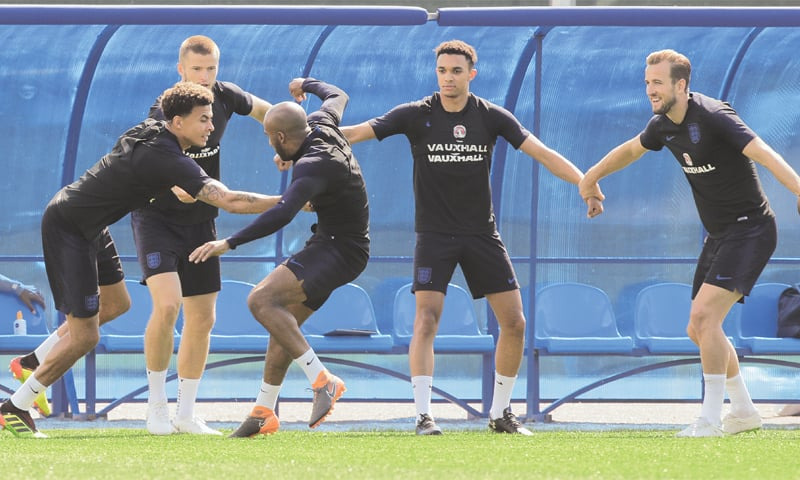 ZELENOGORSK: (L-R) England's Dele Alli, Eric Dier, Fabian Delph, Trent Alexander-Arnold and Harry Kane attend a training session on the eve of their third-place playoff  against Belgium.—AP