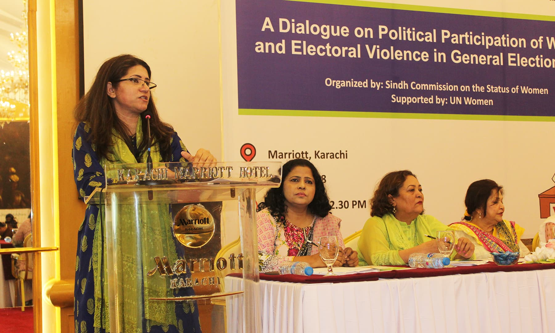 Nighat Siddique, ECP's Additional Director General (Gender Affairs) expresses her views during a seminar on participation of women and electoral violence in General Elections 2018. — Photo: Bilal Karim Mughal