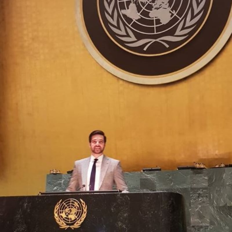 Mikaal Zulfiqar poses at the UN General Assembly
