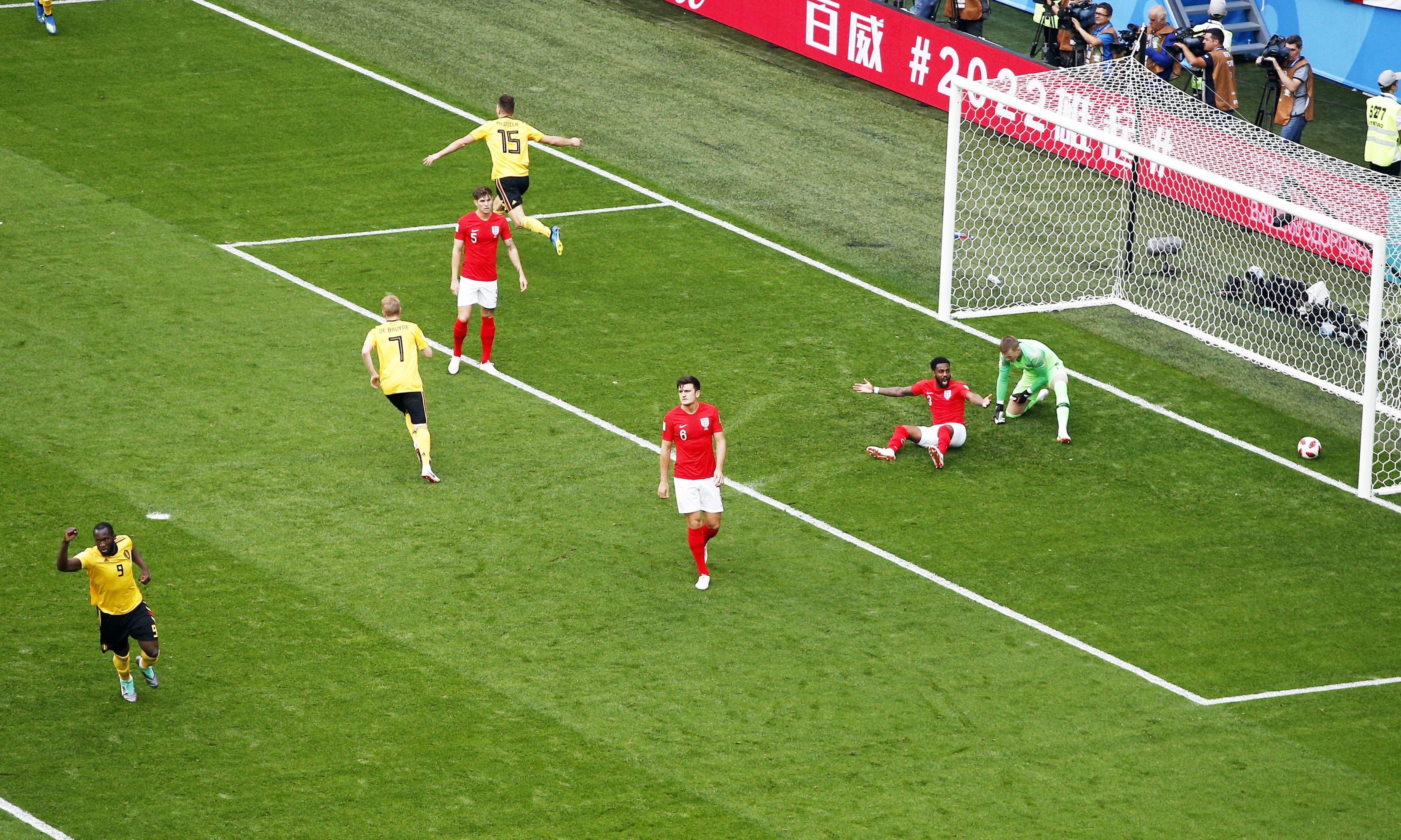 Belgium's Thomas Meunier celebrates after scoring the opening goal. —AP
