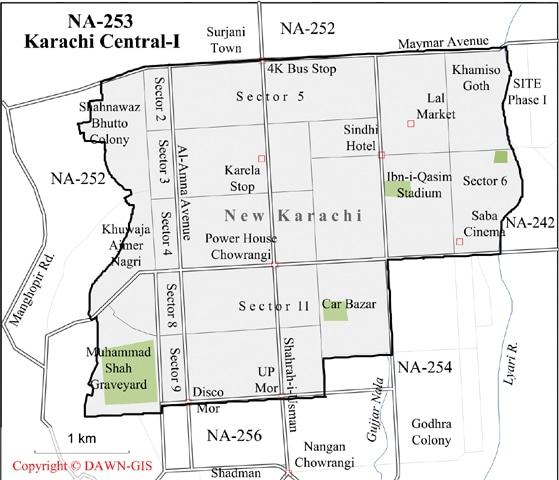 کراچی کا حلقہ این اے 253 کراچی وسطی-1— نقشہ کاپی رائٹ Dawn GIS