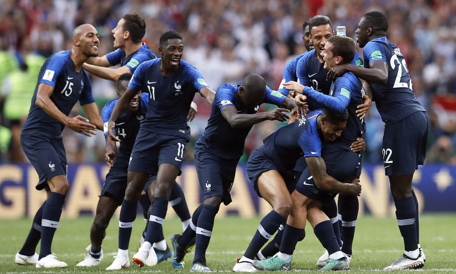 French players celebrate at the end of the final match between France and Croatia at the 2018 football World Cup in the Luzhniki Stadium in Moscow on Sunday. — AP
