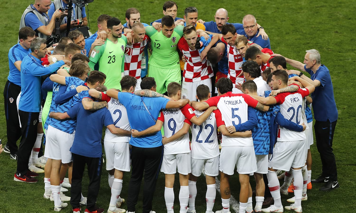 Croatian players after the final match between France and Croatia at the 2018 World Cup in the Luzhniki Stadium in Moscow. — AP