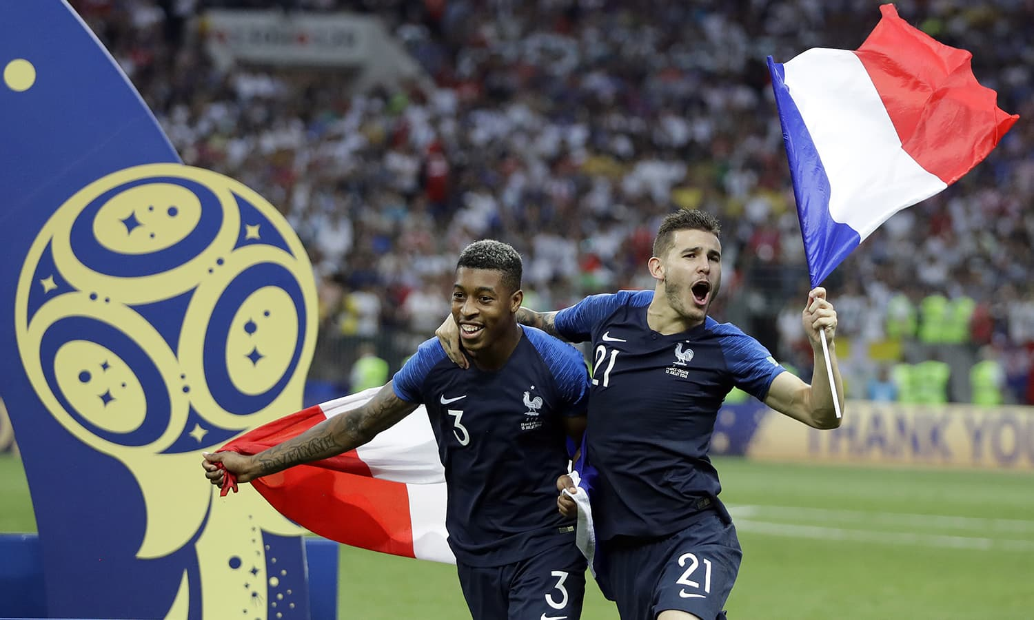 France's Presnel Kimpembe and Lucas Hernandez celebrate after the final match between France and Croatia. — AP