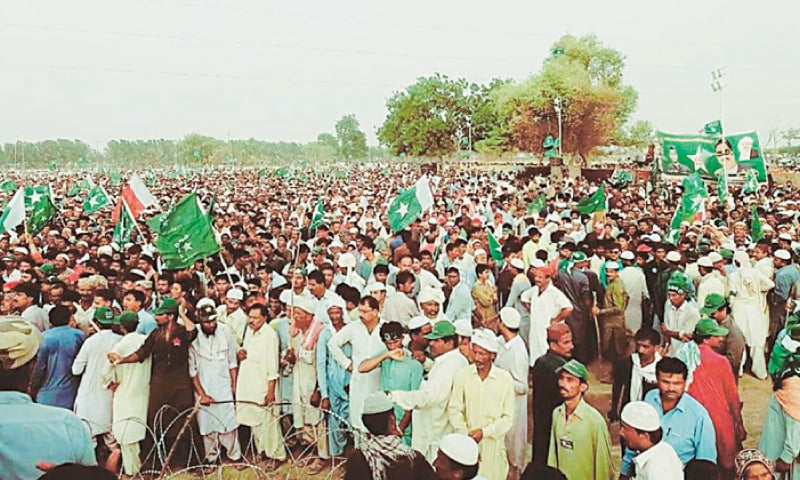 NAWABSHAH: A large number of people attend the rally of the Grand Democratic Alliance on Sunday.—Dawn