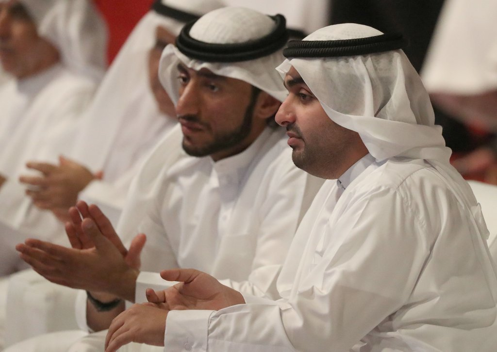 Sheikh Rashid bin Hamad Al Sharqi, right, in Fujairah in March. — Photo courtesy AFP via NYT