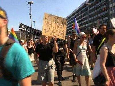 Demonstrators marched in Helsinki, as Trump prepared to meet Putin. ?AP