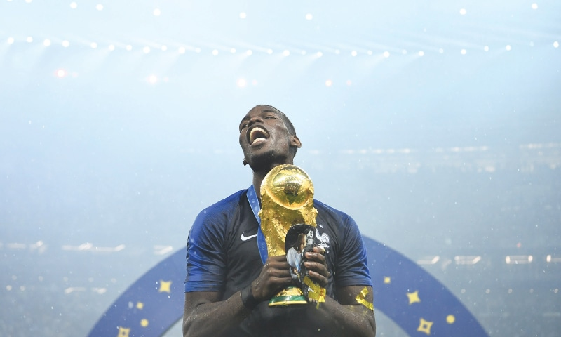 PAUL Pogba celebrates with the World Cup trophy after the final against Croatia at the Luzhniki Stadium.—AFP