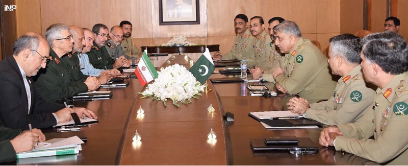 RAWALPINDI: Chief of the Army Staff Gen Qamar Javed Bajwa talks to Iranian Chief of General Staff Maj Gen Mohammad Bagheri, who called on him along with a delegation at GHQ on Monday.—INP