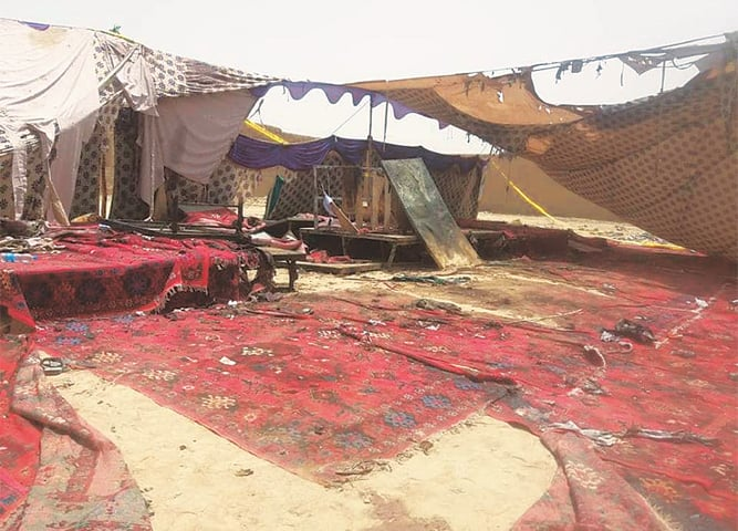 THREE days after a suicide blast in Mastung claimed more than 150 lives, including that of Balochistan Awami Party candidate Siraj Raisani, the tent and carpets remain untouched. —Photo by writer