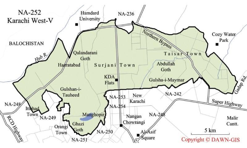 Map of NA-252 Karachi West-V — Dawn GIS