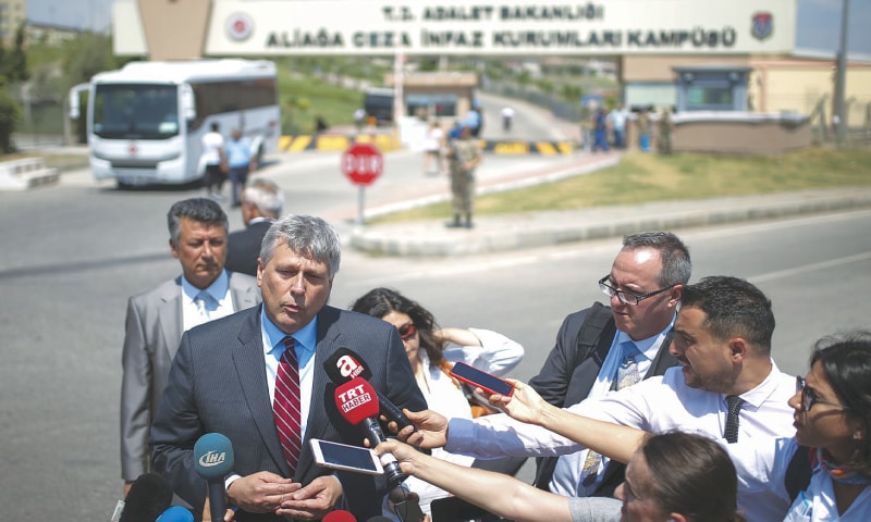 ALIAGA: Philip Kosnett, the US Embassy Charge d'Affaires, talks to the media after attending the trial of jailed US pastor Andrew Craig Brunson on Wednesday.—AP