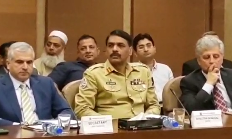 Maj Gen Asif Ghafoor attends Senate's standing committee on interior on Thursday. — DawnNewsTV