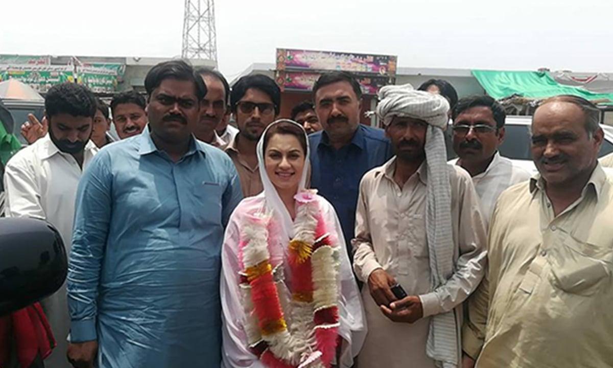 Natasha Daultana with her supporters in her constituency | Shafiq Butt