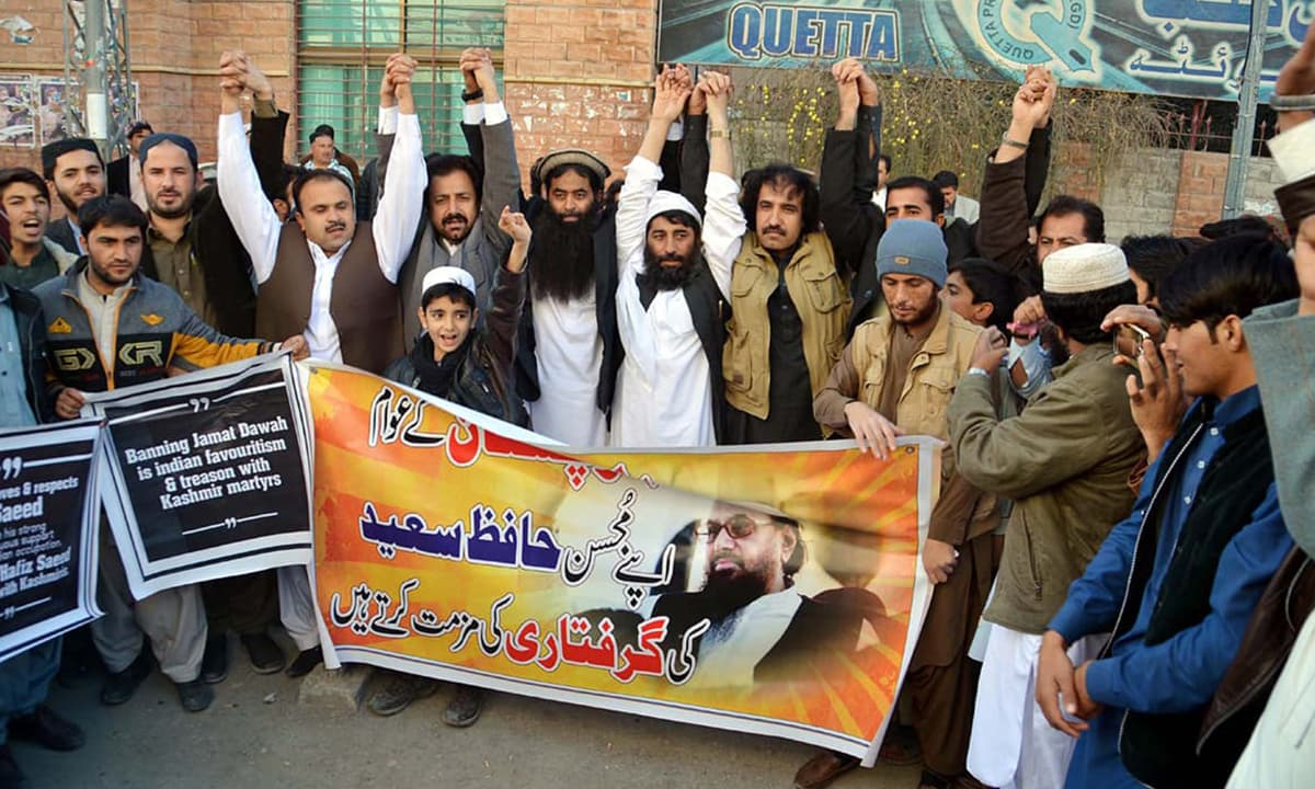 Jamaat-ud-Dawa activists in Quetta protest their leader Hafiz Saeed's latest arrest in 2017| PPI