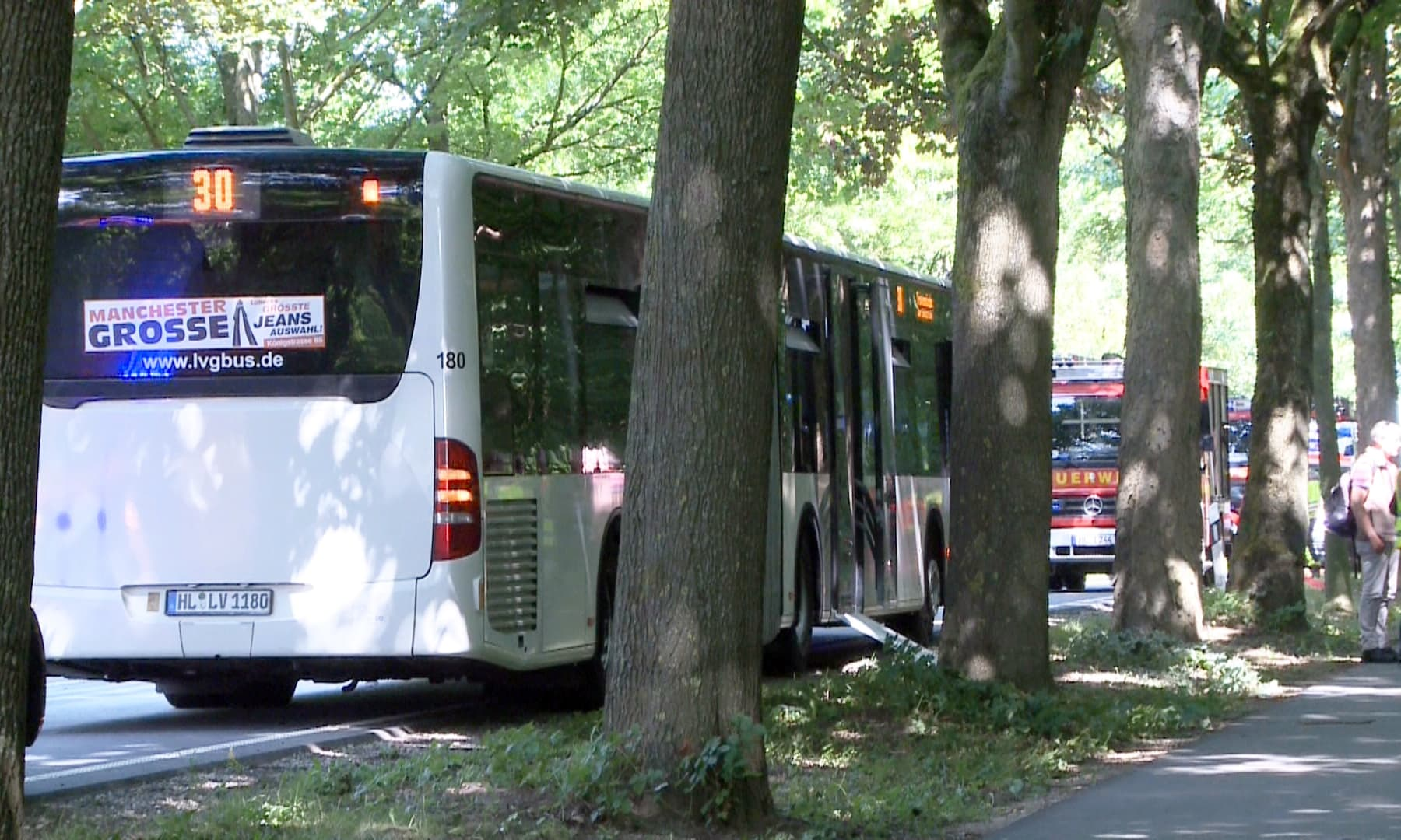 A bus stands on a street in Luebeck after a man attacked people inside. —AP