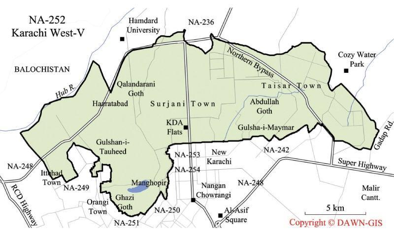 کراچی کے حلقہ این اے 252 کراچی غربی 5 کا نقشہ۔ کاپی رائٹ Dawn GIS