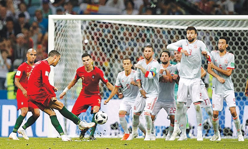 Cristiano Ronaldo, captain of Portugal, scored the tournament's first hat-trick against Spain