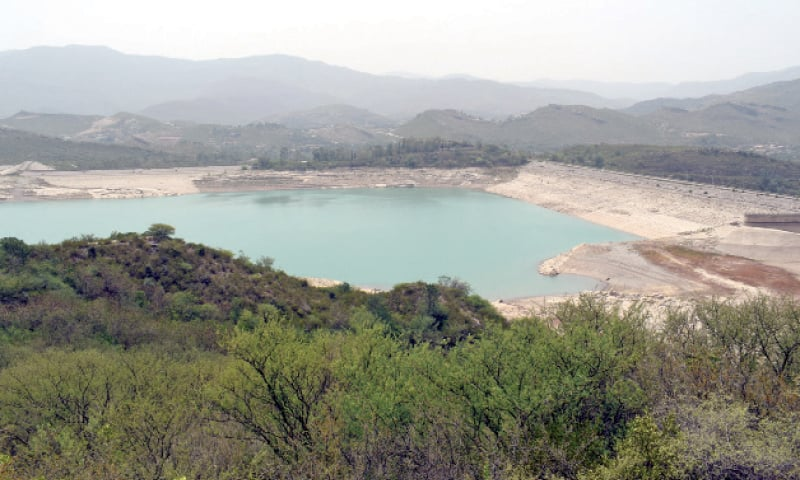 The scenic right bank of Khanpur Dam.