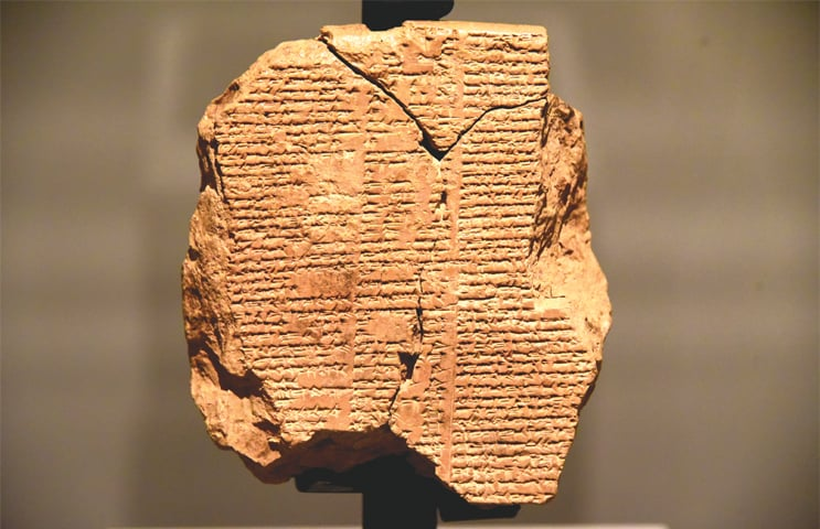 A fragment of a clay tablet inscribed with verses that form the Epic of Gilgamesh, widely regarded as the first great work of literature ever created. The artefact is displayed in the Sulaymaniyah Museum in Iraq and is believed to date back to the Babylonian period (2003-1595 BC) | Wikimedia Commons
