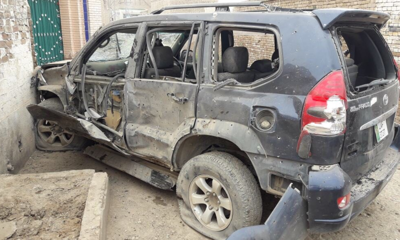 Gandapur's vehicle in shambles after the suicide attack.—DawnNewsTV