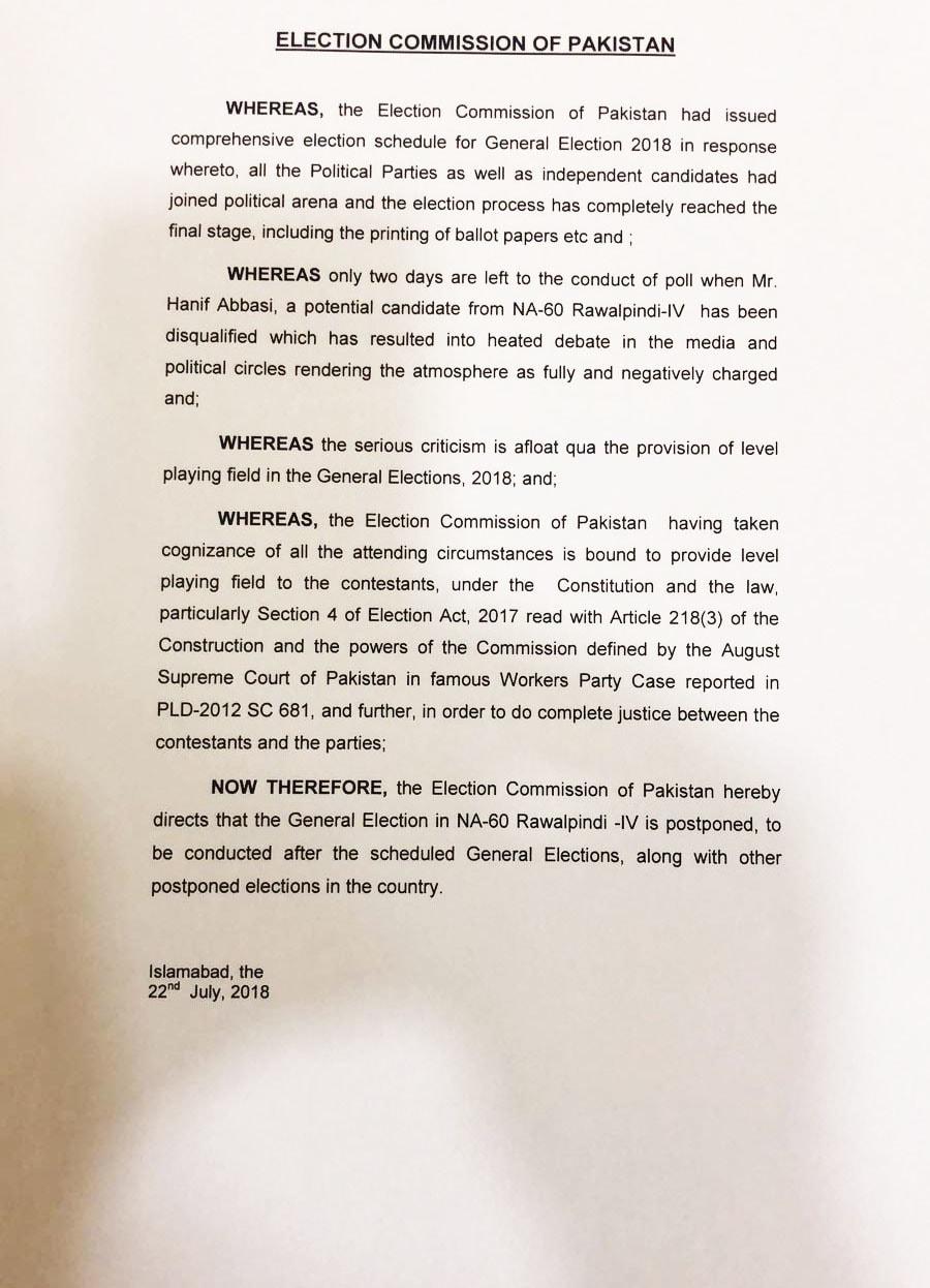 ECP notification regarding postponement of elections in NA-60 — DawnNewsTV