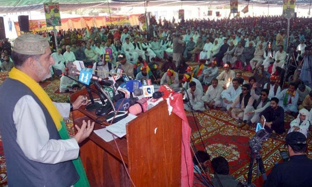 Sardar Akhtar Mengal, chief of the Balochistan National Party, addresses the public in Quetta in April this year | PPI