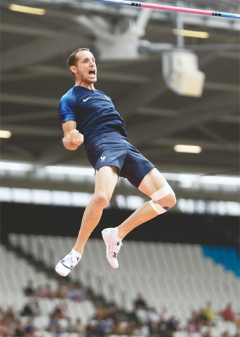 LONDON: Renaud Lavillenie of France reacts during the pole vault event at the IAAF Diamond League meeting at London Stadium on Saturday.—AP