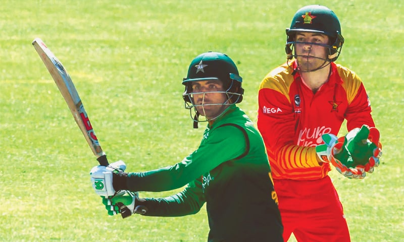 FAKHAR Zaman, the man-of-the-series, cuts on his way to 85 as Zimbabwe wicket keeper Ryan Murray looks on.—AFP