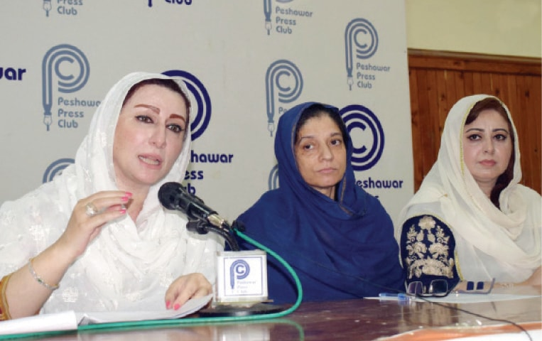 KPCSW chief Neelum Toru addresses a press conference in Peshawar on Monday. — INP