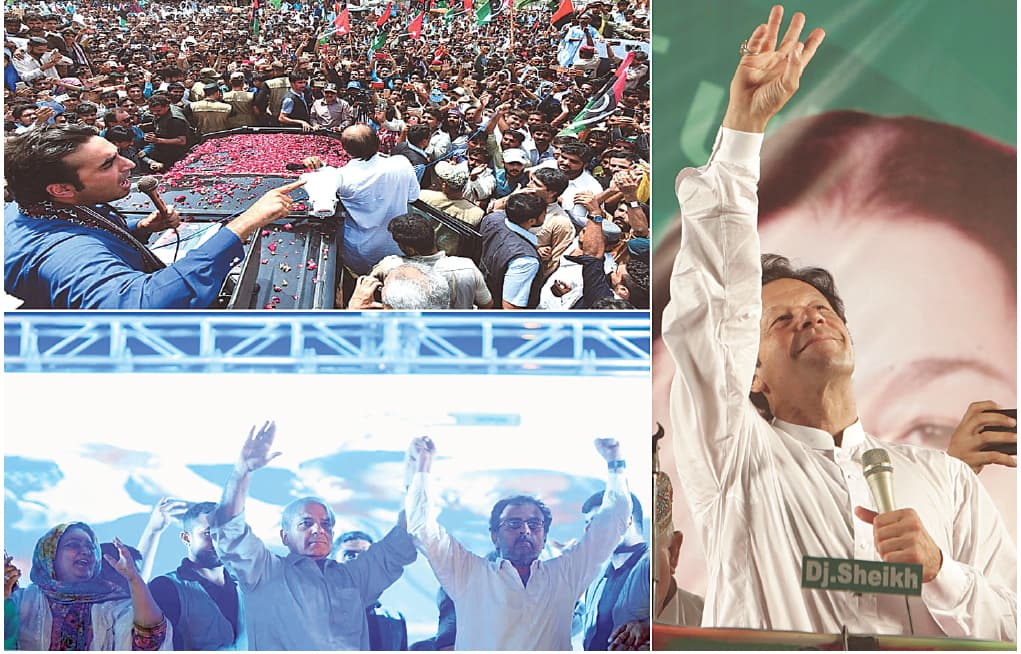 (TOP left) PPP chairman Bilawal Bhutto addressing a public gathering at Ratodero. (Bottom left) PML-N president Shahbaz Sharif gestures during an election gathering in DG Khan. (Right) PTI chief Imran Khan waves to supporters at a rally in Lahore.—APP / White Star / AP