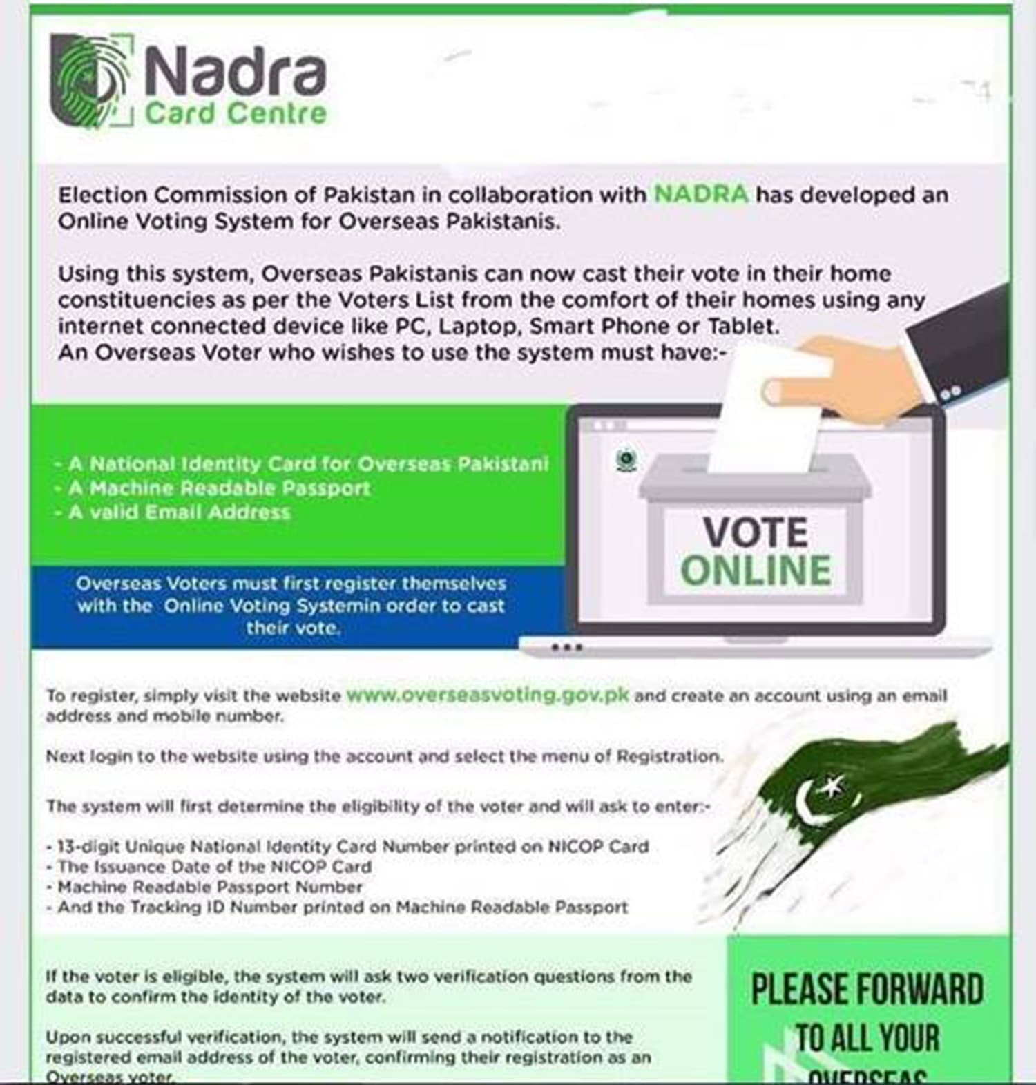 Do not fall for such fake posts. There is no mechanism for overseas Pakistanis to vote.