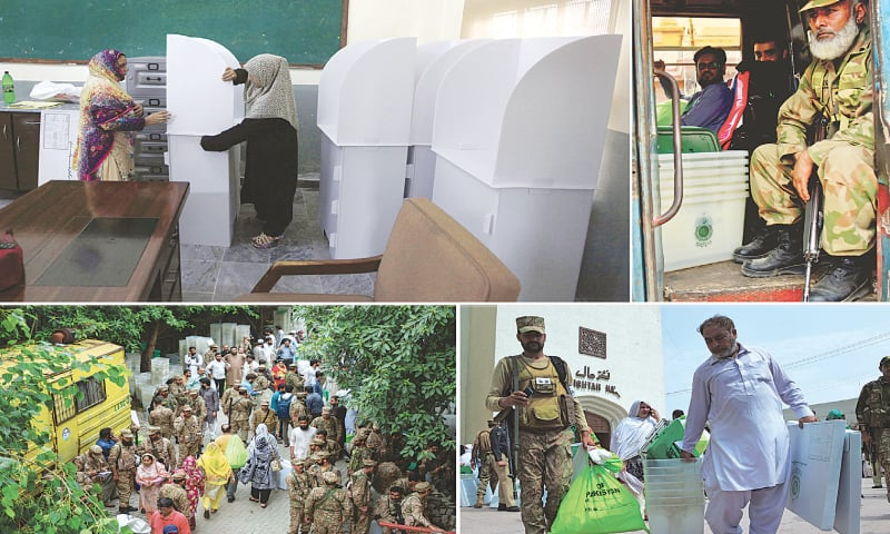 ELECTION staff and military personnel made hectic preparations on Tuesday for the general elections to be held today. (Clockwise from top left) Election staff busy in setting up a polling booth in Islamabad; a soldier sits in a bus carrying polling staff in Karachi; a soldier and a polling official carry election material as they come out of a distribution centre in Peshawar; and military personnel arrive at a polling station in Lahore to perform their duty there.—AP / White Star