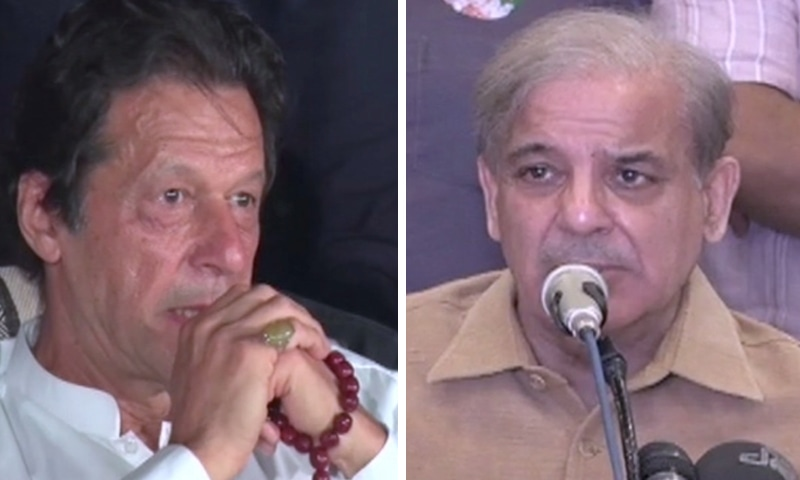 PTI Chief Imran Khan awaits final election results at Bani Gala (left); PML-N Chief Shahbaz Sharif holds a press conference in Lahore to voice concerns over vote counting process. — DawnNewsTV