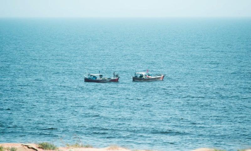 Fishing boats out at sea