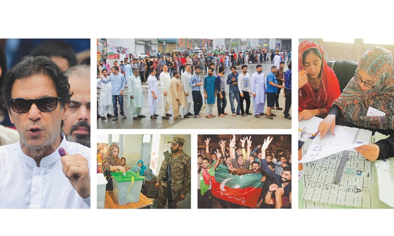 PTI chairman Imran Khan speaks to the media after casting his vote in Islamabad on Wednesday. (Top centre) Voters queue outside a polling station in Lahore. (Right) Presiding officer busy marking the name of a voter at a polling station in Islamabad. (Bottom left) A woman puts her vote into the ballot box at a polling booth in Rawalpindi. PTI supporters celebrate in Lahore as early results show victory for their party.—Agencies