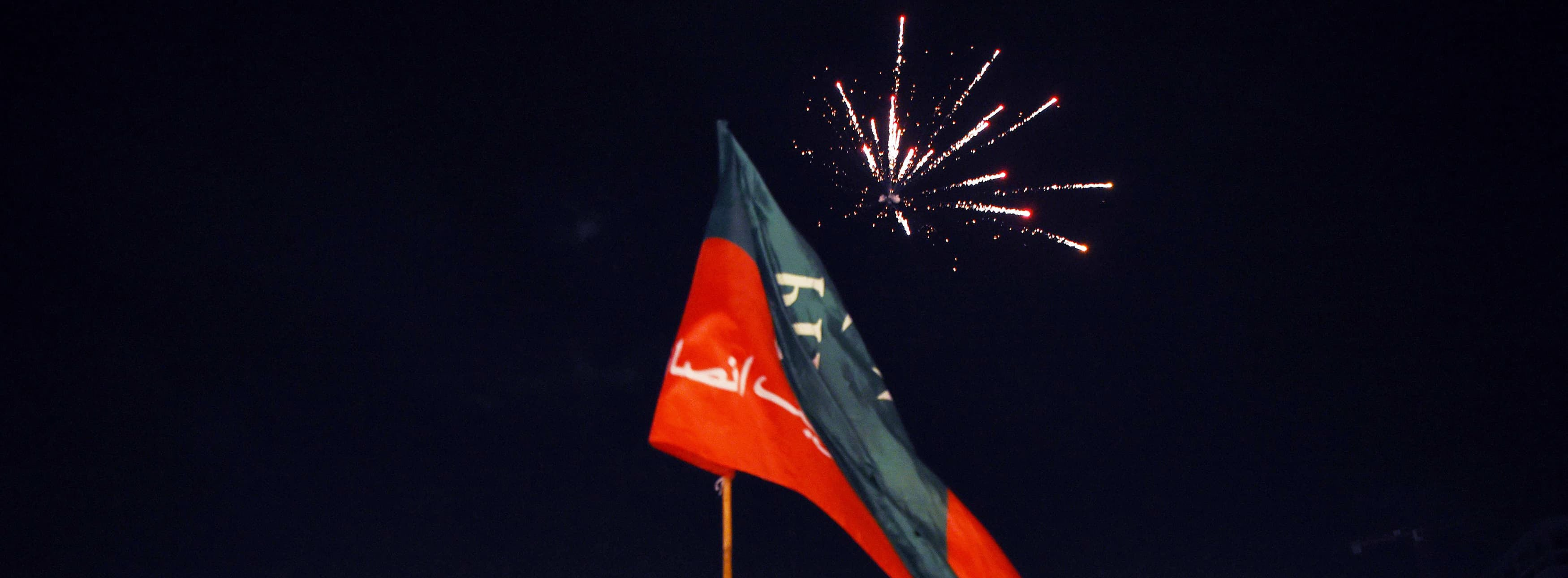 "Supporters of Pakistan's cricketer-turned politician Imran Khan, head of the Pakistan Tehreek-e-Insaf (Movement for Justice) party, cheer as fireworks go off as they celebrate in Lahore early July 26, 2018,  as voting closed in general elections. One of the main candidates in Pakistan's election, Shahbaz Sharif, rejected the results of the poll as counting was still underway, alleging ""blatant"" rigging. ""It's such a blatant rigging that everyone has started crying. Today what they have done has pushed Pakistan back 30 years... We reject this result,"" Sharif, who leads the incumbent Pakistan Mu"