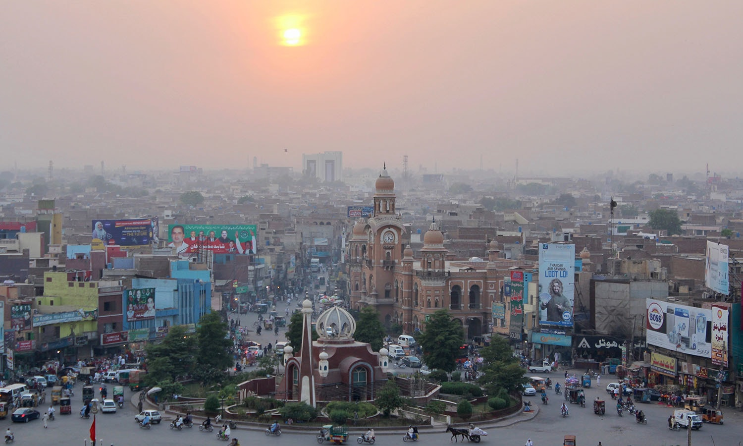 Sunset over central Multan