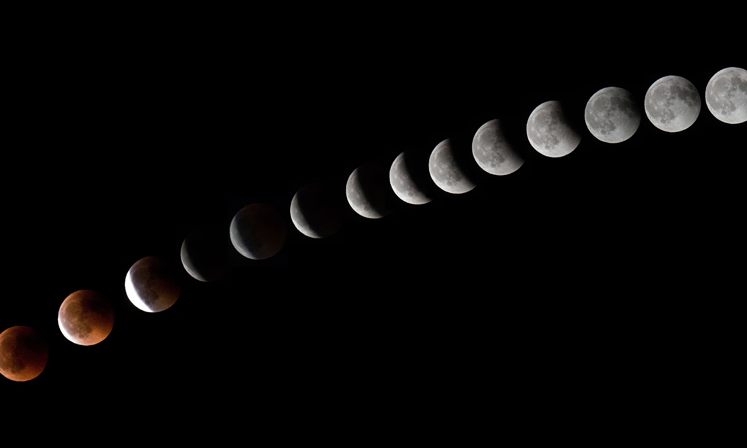 This combination of 14 pictures put together in photoshop and taken on July 27, 2018 shows the moon during a total lunar eclipse near to La Puente town, canary Spanish island of Tenerife. — AFP