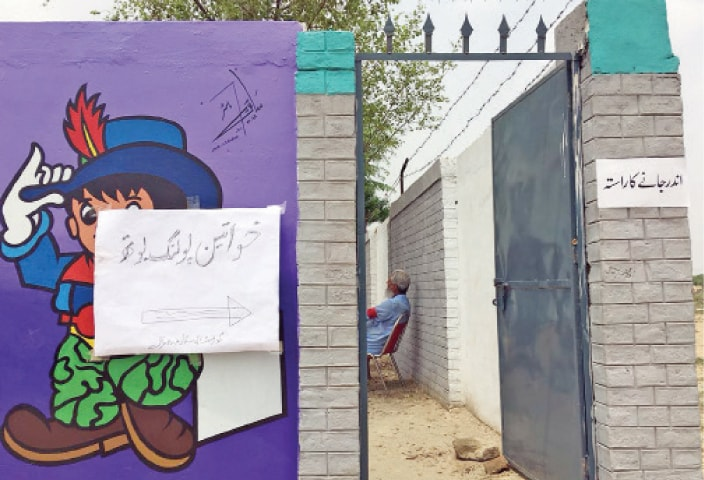 The entrance to a deserted polling booth. — Photos by the writer