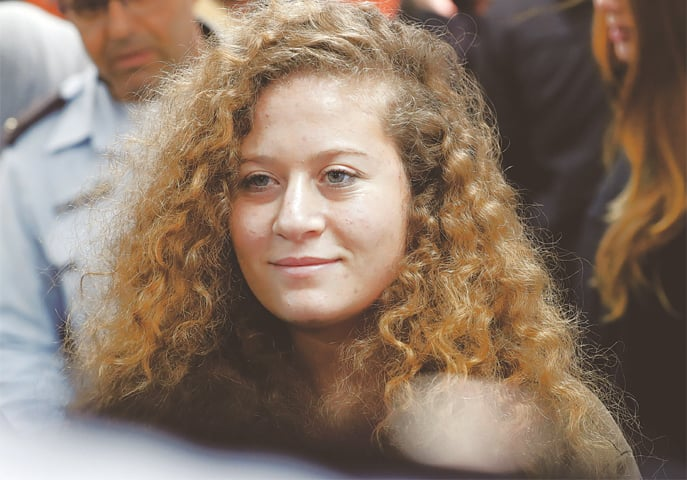 TEENAGE Palestinian activist and campaigner Ahed Tamimi at her trial in an Israeli military court on Feb 13.—AFP