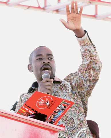 LEADER of the opposition MDC party Nelson Chamisa addresses his party's final election rally in Harare on Saturday.—Reuters