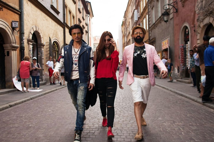 Ali Zafar, Maya Ali and Faisal Qureshi in a scene shot in Poland from Teefa In Trouble