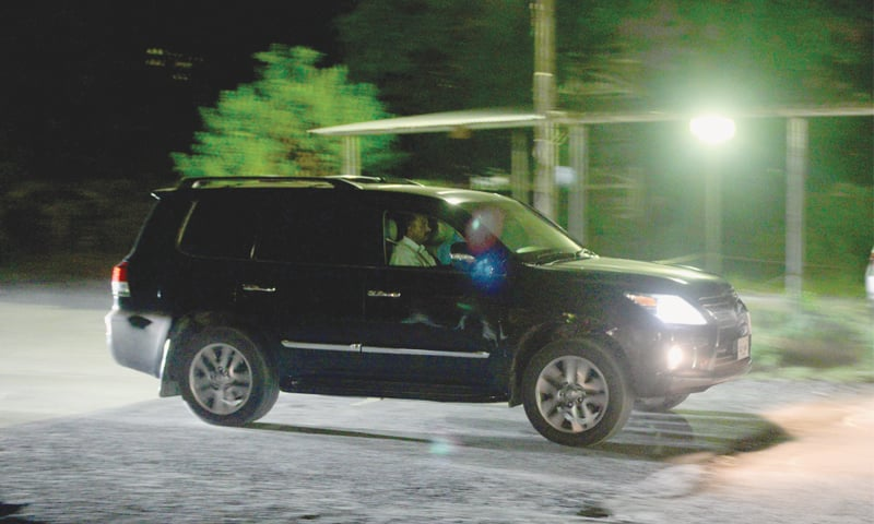 THIS picture shows the vehicle shifting former prime minister Nawaz Sharif to hospital from Adiala jail on Sunday.—Dawn