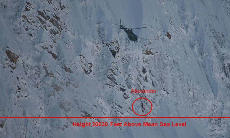 A photograph of Alexander Gukov's position on Latok Top at 20,630 feet. ─ Photo courtesy ISPR
