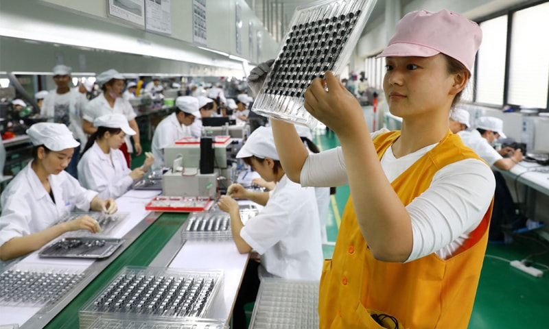 Chinese factory activity slowed in July, official data showed on Tuesday, missing forecasts as extreme weather and a trade war with the US weighed on manufacturing.—AFP file photo