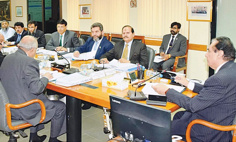NAB chairman retired Justice Javed Iqbal chairs an executive board meeting at the bureau headquarters on Wednesday.—INP