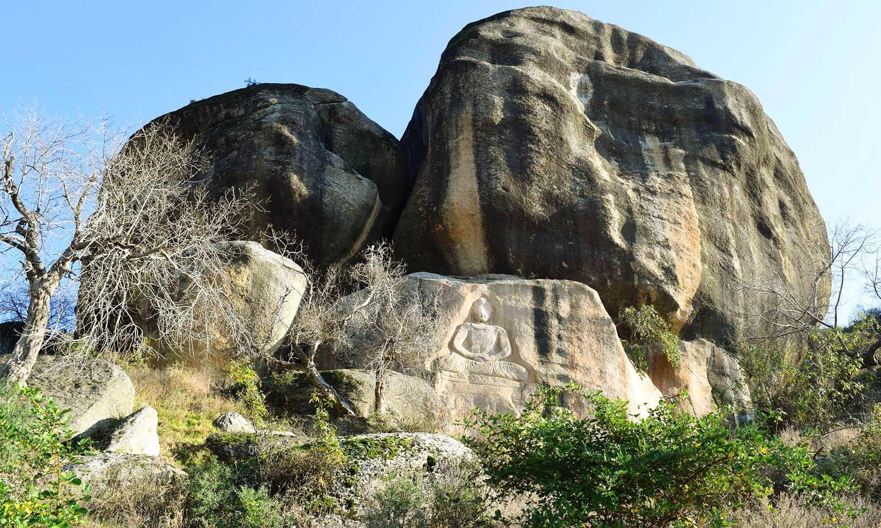 افغانستان کے بامیان کے بعد بدھا کا پتھروں میں کندہ کیا گیا اس خطے کا دوسرا بڑا مجسمہ ہے—تصویر امجد علی سحاب